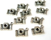 Camera Charms Set of 10 Silver Color 15x21mm