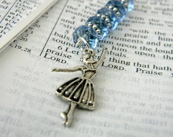 Ballerina Bookmark with Blue Glass Beads Silver Plated Steel Dance Bookmark Shepherd Hook