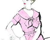 1960s Dress Pattern Advance 9453 Cape Collar Sheath Dress Tie Collar Shirtdress Womens Vintage Sewing Pattern Bust 34