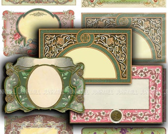 DECO LABELS - Digital Printable Collage Sheet - Blank Art Deco & Art Nouveau Labels, Pretty Vintage Frames, DIY, Instant Download