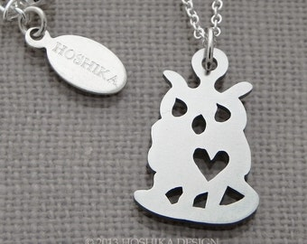 Mini Owl with Heart Necklace