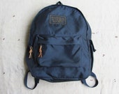 vintage c. 1980s National Audubon Society backpack with leather zipper pulls