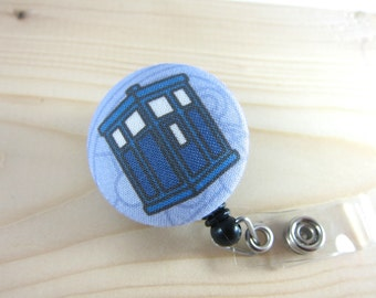 Doctor Who Inspired Badge Holder Retractable Badge Reel Lanyard - TARDIS