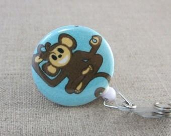Retractable Badge Holder - Cute Badge Reel - Teacher Gift - Yoga Monkey