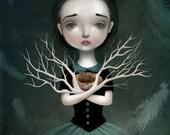 Empty Nest 8x10 print | Daphne, bird egg bird nest, melancholy art emotional illustration of girl dark fairytale by - Meluseena