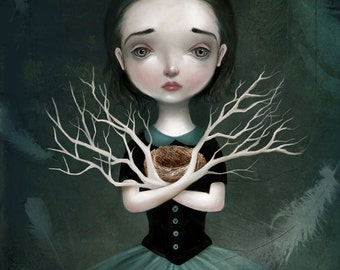 Empty Nest 11X14 print -- Daphne, bird egg bird nest, melancholy art emotional illustration of girl dark fairytale by - Meluseena