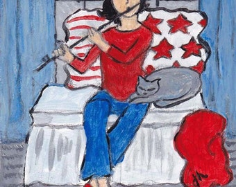 Girl Playing Flute with Red Pillow and Gray Cat