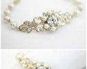 Gold Bridal Bracelet Gold Wedding Jewelry, Ivory Pearl Bracelet, Filigree Cuff Bracelet, Pearl Wedding Bracelet, PARIS CLASSIC BRACELET
