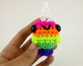 Rainbow Narwhal / Amigurumi Narwhal / Crochet Narwhal / Cute Narwhal Plush / Narwhal Plushie - Neon Rainbow Baby Narwhal - Made to Order