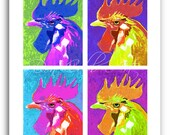 Rooster Pop Art Chicken Art Prints Signed and Numbered