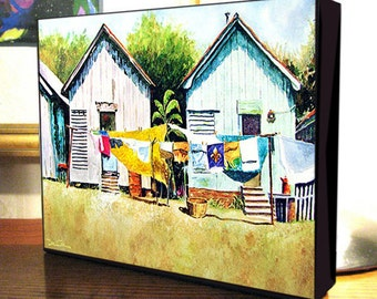 "New Orleans Shotgun House Clothesline Art ""Louisiana Washday"" Gallery Wrap Canvas Print"