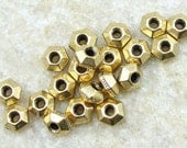 100 Antique Gold Beads 5mm TierraCast FACETED Bicone Spacer Beads - Gold Heishi Bali Beads (PS92)