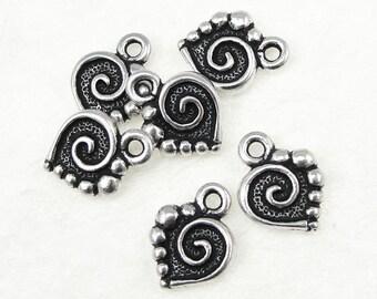 TierraCast SPIRAL HEART Charms - Antique Silver Charms - Tierra Cast Heart Drop (P109)