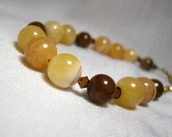 TIRAMISU Adjustable Bead Bracelet, Natural Golden Onyx Marble, Brown Petrified Wood, Smoked Topaz Swarovski Crystal, Free Shipping