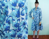 1970s Blue Siamese Cats Jersey Print 2-Pc Dress - Size 8 to 10 - Bust 37