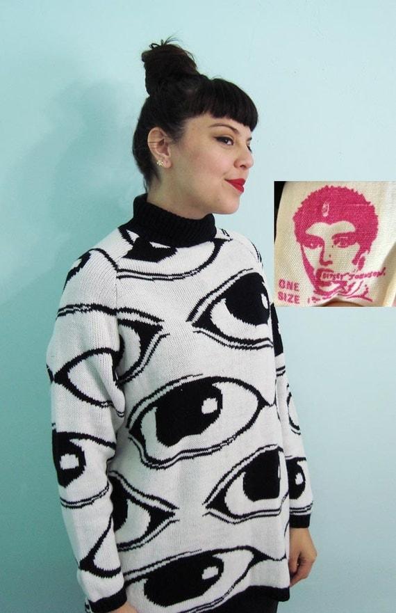 Rare Vintage 80s EYE BALL Knit Sweater - Betsey Johnson Punk Label - white black