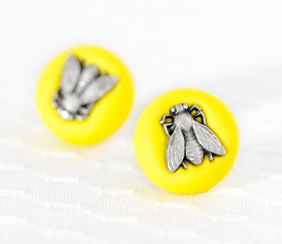 Neon Jewelry Yellow Fly Earrings Funky Valentine's Day Gift. Surgical Stainless Steel Posts in Bright Electric Lemon Polymer Clay