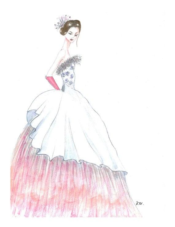 Hand Gezeichnete Prinzessin Aquarell Mode Abbildung Mode Skizze Wei