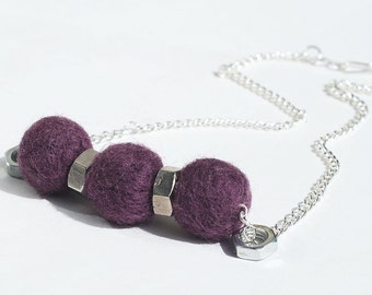 Felt Bead Jewelry- Purple & Silver Upcycled Hardware Jewelry, Choker Necklace, Felt Necklace, Hardware Necklace, by Tanith Rohe