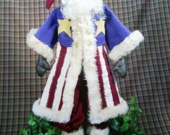 Cloth Doll E-Pattern 25in Patriotic July 4th Santa