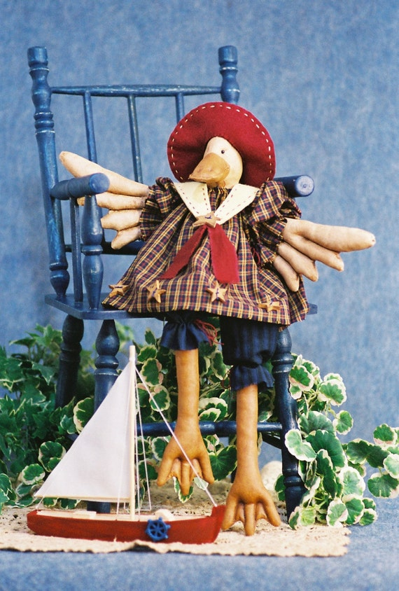 Cloth Doll E-Pattern - 19in Cute Girl Duck Sailor Bird Doll Epattern