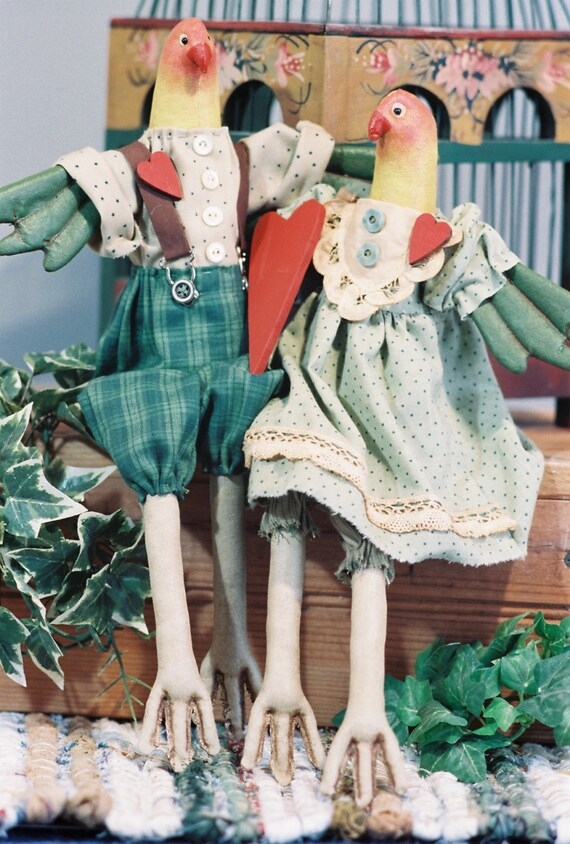 Cloth Doll E-Pattern  16in Pair of Love Birds epattern