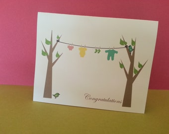 Congratulations Baby Card, Personalized Baby Card clothesline