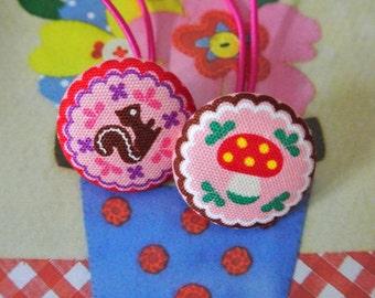 Handmade Kawaii Large Japanese Pink Red Squirrel Mushroom Woodland Girl Fabric Button Hair Ponytail Holder Elastic Hair Tie