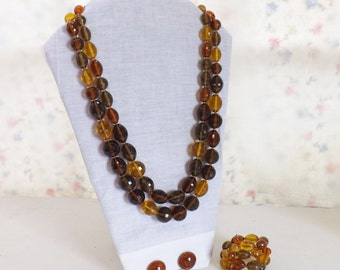 Vintage Dalsheim brown plastic beaded jewelry set double strand necklace, coil bracelet and earrings fall or autumn