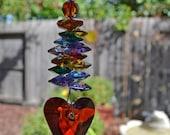 "7-8"" Long Wild Heart Red or Blue Beaded Rainbow Crystal Suncatcher Charm or Ornament, Home Decor, Valentine, Love, Anniversary, Gift"