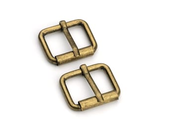 "10pcs - 3/4"" Roller Pin Belt Buckles - Antique Brass - Free Shipping (ROLLER BUCKLE RBK-110)"