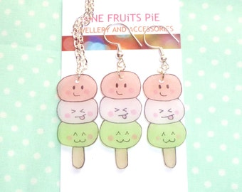 Kawaii dango shrink plastic earrings and necklace set - pink, white and green