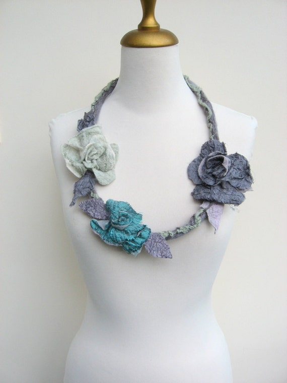 Felted Flower  Necklace - Silver Grey, Titanium Grey and Mint Green LONG