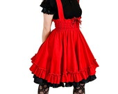 Gothic Lolita Red Polyester Jumper High Waisted Skirt-Custom to your size