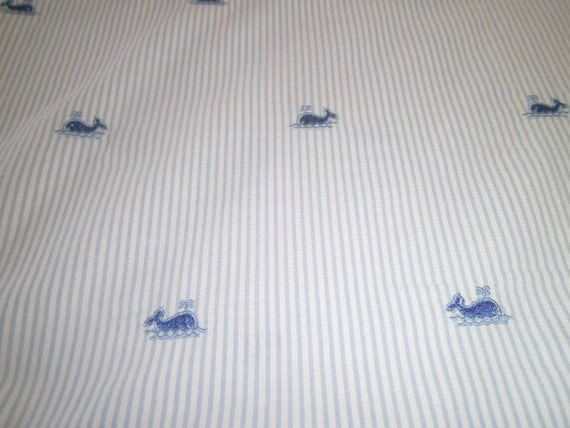 "Fabric, Seersucker, Embroidered  Blue Whales on Blue and White stripe, 60"", Cotton"