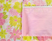 vintage bedding - pink yellow floral print sheet - DOUBLE FLAT