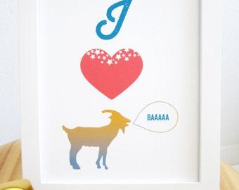 Goat print, Goat Art Print, I love Goat, I heart Goat, Goat Illustration, Ombre Goat, Pink Heart, Farm Animal, 8x10