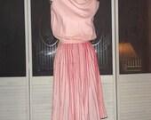 Vintage 50s Rockabilly Accordian Pleats Secretary Swing Dress
