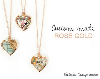 Custom Map Necklace with Rose Gold Heart Locket, Personalized Map Jewelry, Rose Gold Chain, Valentines Day Gift for Her - Made to Order