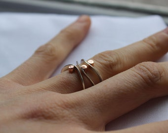 Stacking Silver Rings Set of 3, Elegant casual, eternity rings, stackers, thin ring, Sterling silver and copper, Made to order in your size