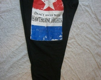Hawthorne Heights Band Recycled T-Shirt Pants Leggings Tights for Yoga Workout Roller Derby Upcycled Large