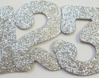 "3.5"" Wedding Table Numbers - Silver Glitter Chipboard  - Boutique Font - Color Choices Available - DISCO SiLVER Shown"