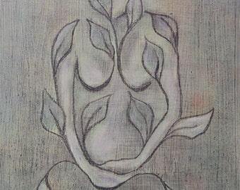 PRINT Green Goddess, green art print, goddess art, garden goddess, spiritual art, zen painting