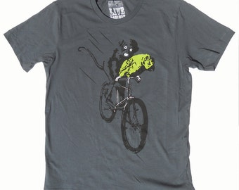 Men's Bicycle TShirt of Parrot and Monkey in Grey