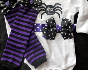 Halloween Spider Ribbon Bodysuit with Leg Warmers - Short or Long Sleeves