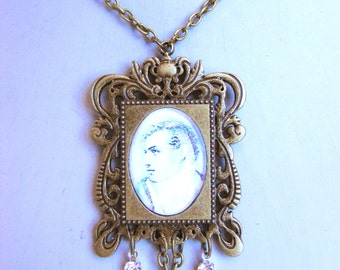 Lord Byron Necklace in an Ornate antique brass frame Setting with crystals Steampunk Gothic Tea Party Jewelry