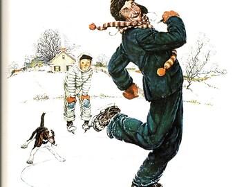 Norman Rockwell - Ice Skating - Grandpa and Me - Winter - Christmas Print - Vintage Art Print - Rockwell Book Print - 4 Seasons Calendar