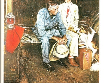 Norman Rockwell - Breaking Home Ties - Vintage Art Print - Rockwell Book Plate, Book Print - Saturday Evening Post Cover - 1954