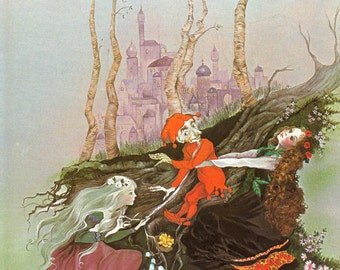Fairy Tale Print - Snow White, Rose Red - Vintage Print - Children's Book Plate, Print - Fairy Stories - Dwarf - Beverlie Manson - 1970s