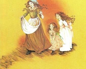 Fairy Tale Print - Ugly Duckling - Vintage Print - Children's Book Plate, Print - 3 Little Girls - Beverlie Manson - 1970s